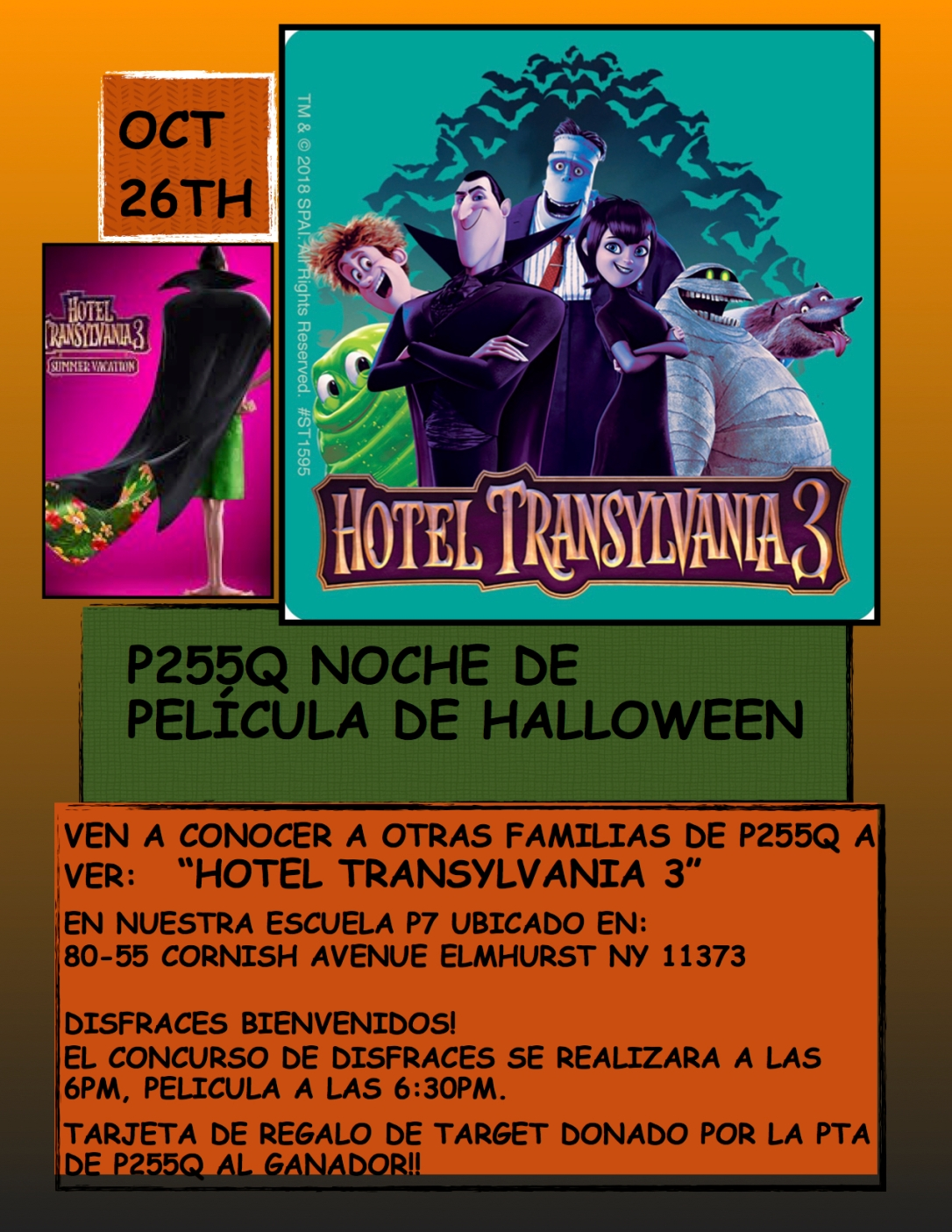 HALLOWEEN MOVIE NIGHT POSTER SPANISH