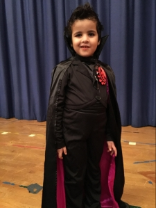 Boy in vampire costume