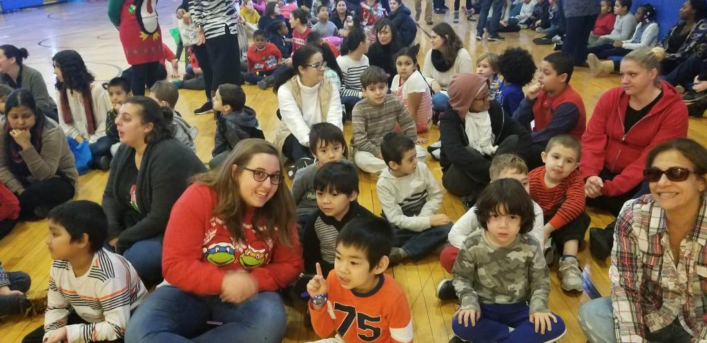 Teachers and students waiting for Santa