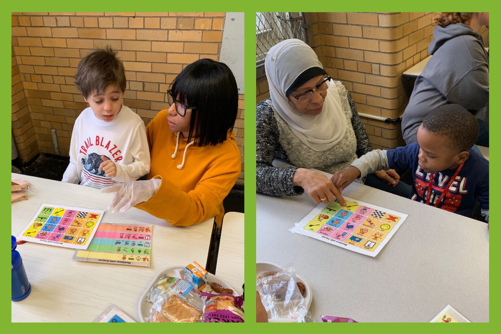 Teachers and students eating together using picture boards and social scripts to facilitate conversations during lunchtime.