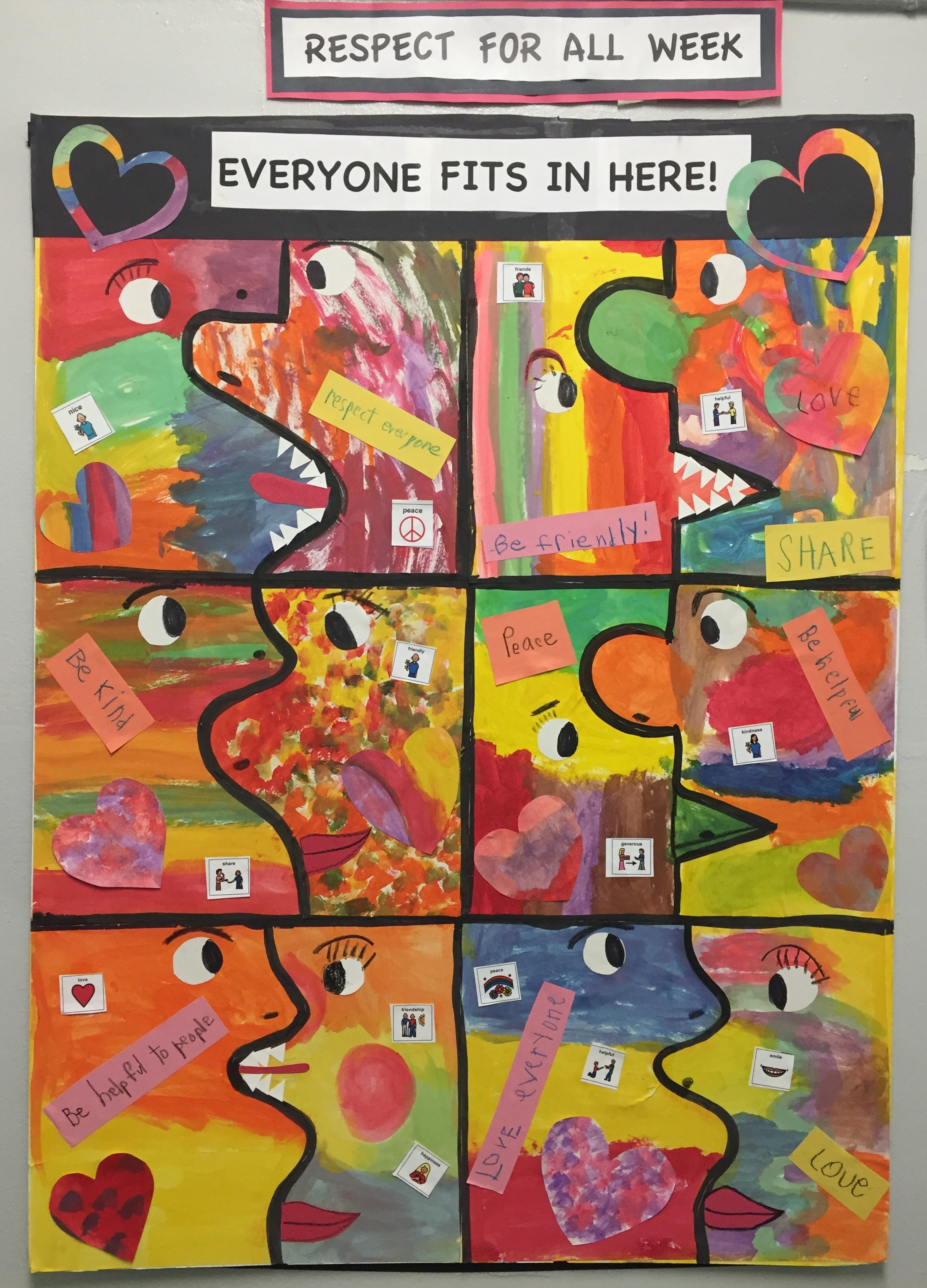 Puzzle pieces with kindness messages are put together to make one large puzzle of unity.