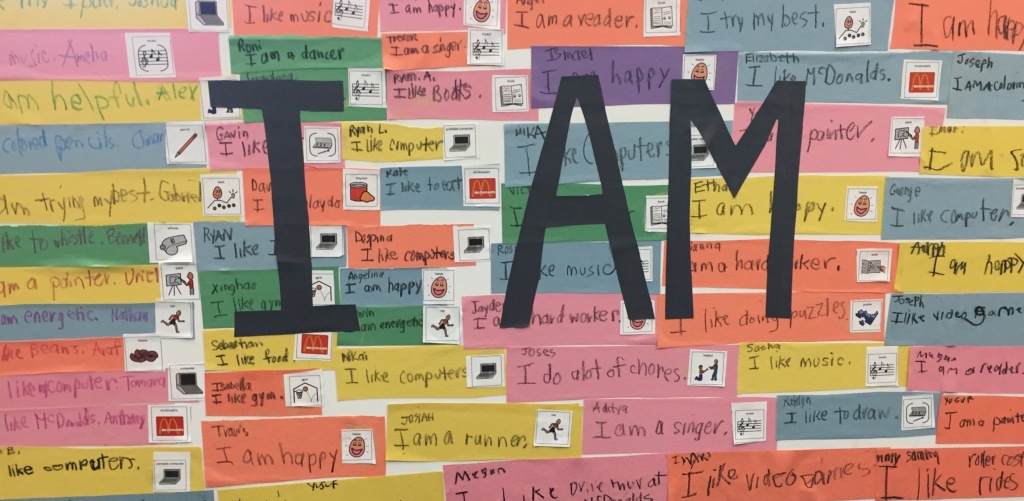 """I am..."" bulletin board display of student characteristics and traits"