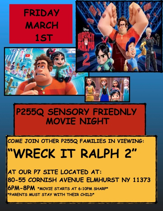 Movie Poster for Sensory Friendly Movie Night at P7