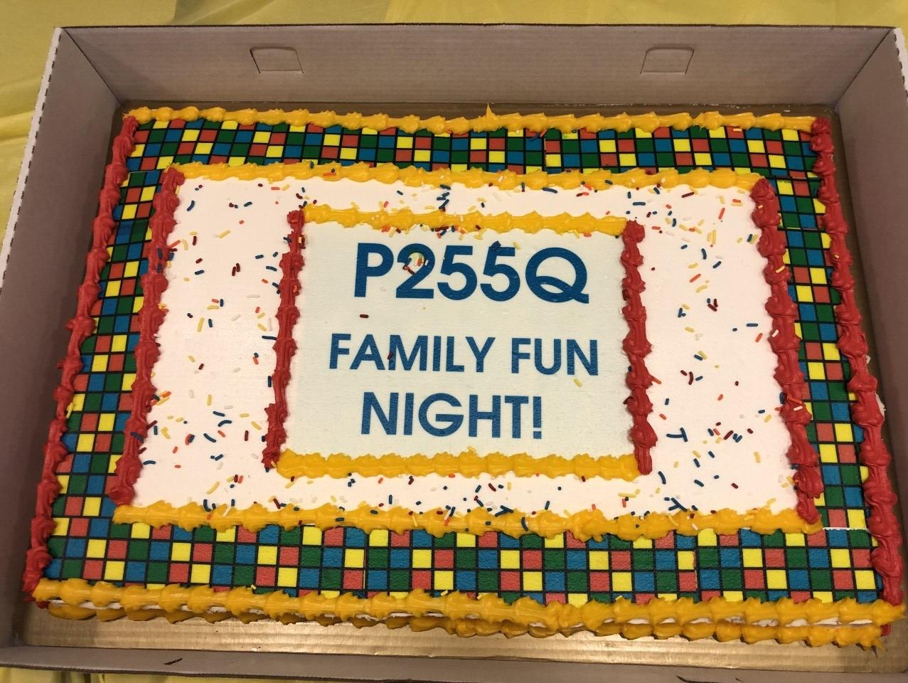 Cake with P255Q Family Fun Night Writing