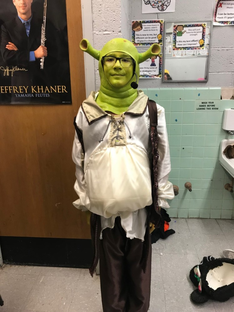 Manny in costume as Shrek