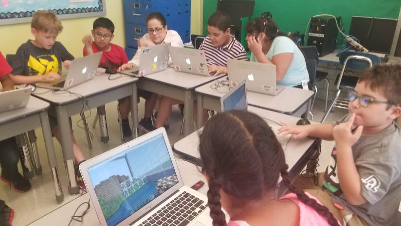 Children play Minecraft