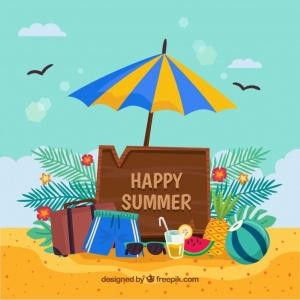 Beach scene with Happy Summer