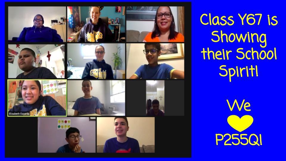 School spirit class photo on Zoom