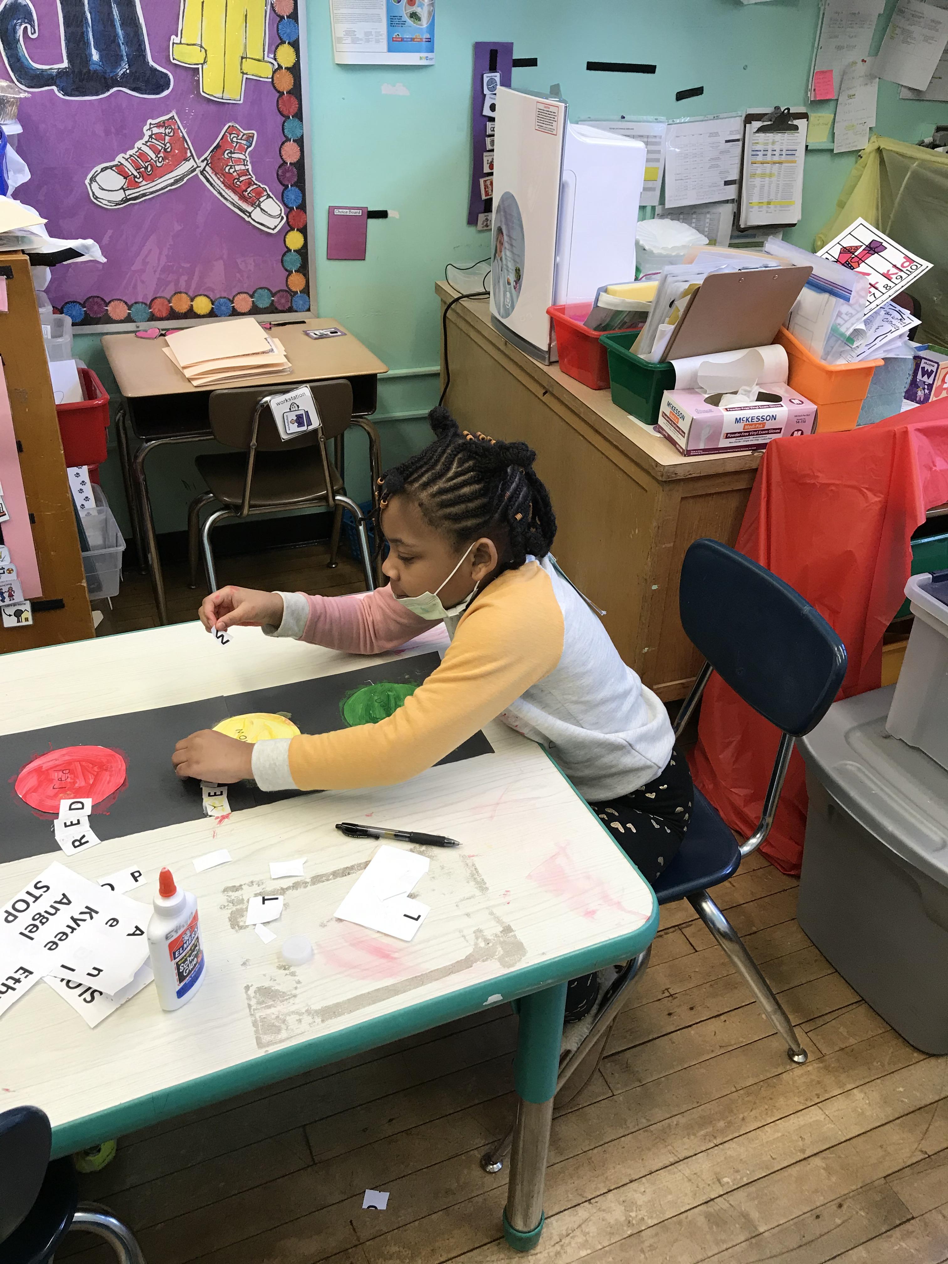 Child working on BLM activitiy