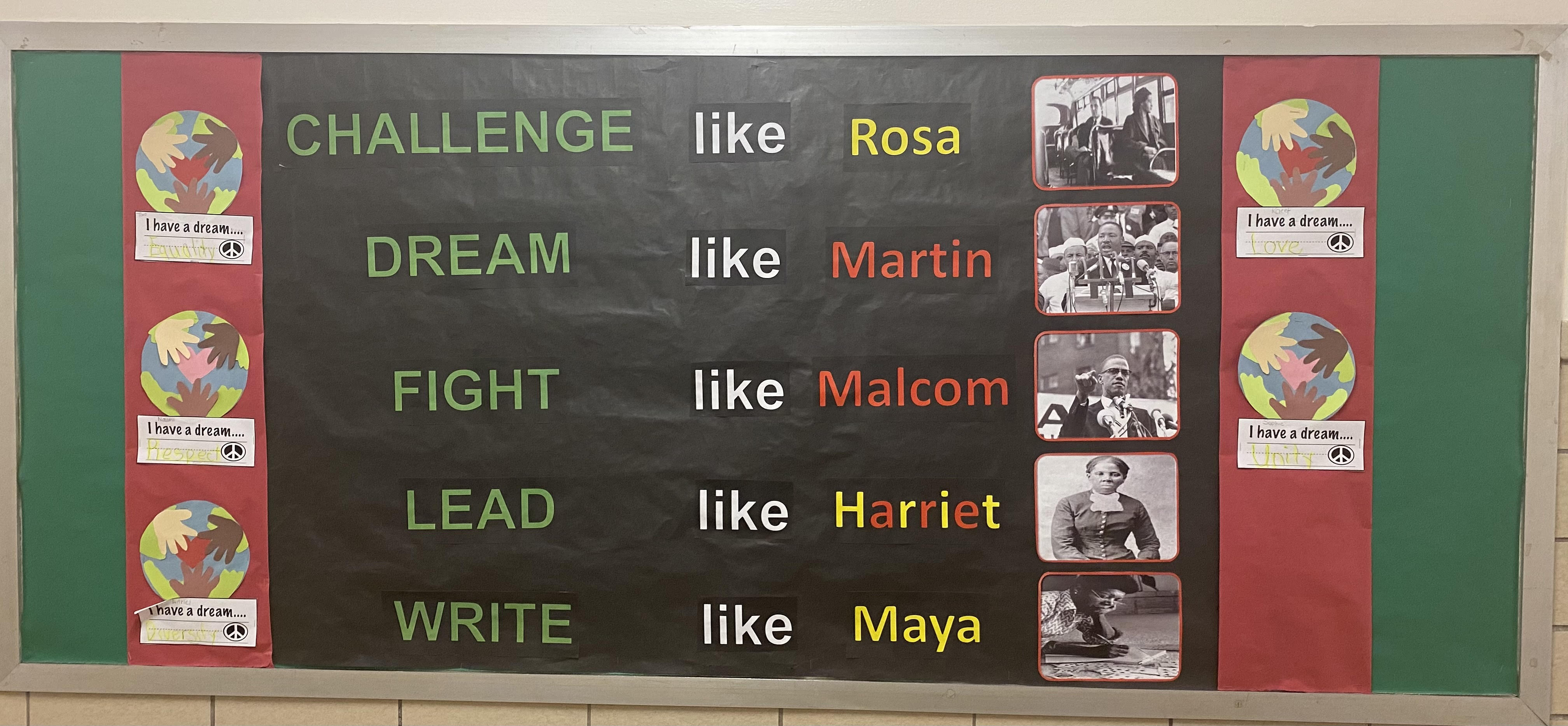 Black History Month bulletin board.