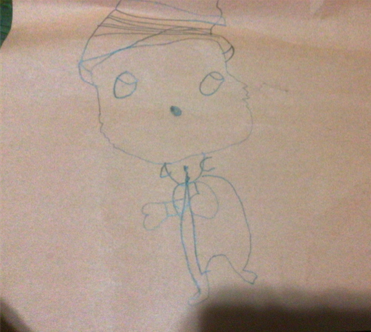 Child's drawing of Cat in the Hat