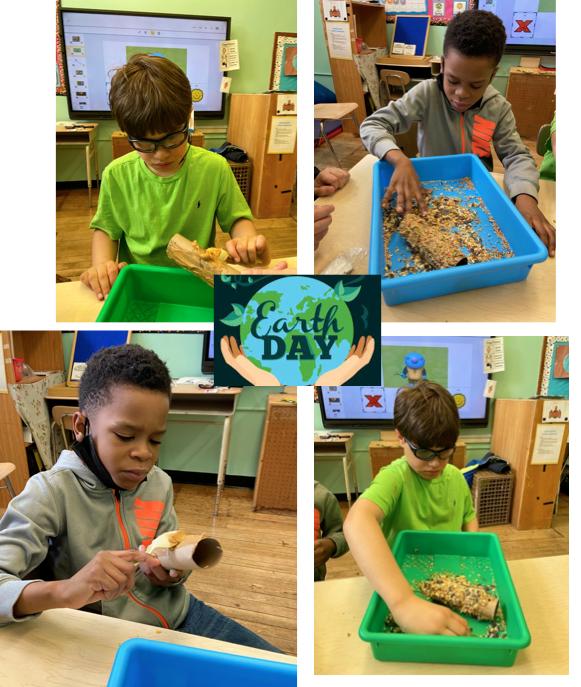 4 photos of boys making bird feeders