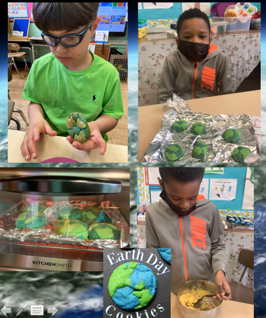 Four photos of boys making earth day cookies.